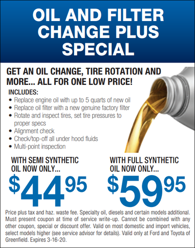 Ford Oil Change Coupon >> Ford Service Specials Greenfield Ma Ford Parts Specials